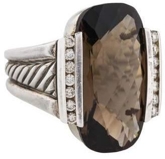 David Yurman Smoky Quartz & Diamond Large Deco Ring