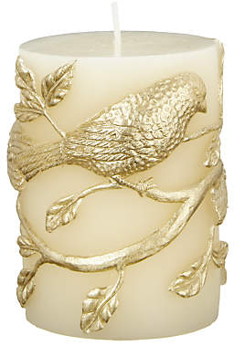 John Lewis & Partners Pillar Candle With Birds, Ivory