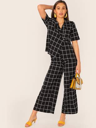 Shein Grid Print Asymmetrical Button Up Top and Palazzo Pants Set