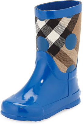 Burberry Ranmoor Polka-Dot Rubber Rain Boot, Lupin Blue, Toddler $175 thestylecure.com