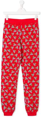 Moschino Kids TEEN teddy bear print track pants