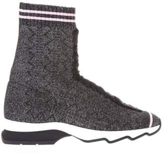 Fendi Black And Pink Stretch Yarn Sneakers