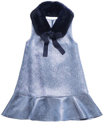 Imoga Sleeveless Metallic Dress w/ Faux Fur Shawl Collar, Size 8-14