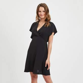 Vila Short Flared Wrapover Dress with Short Sleeves