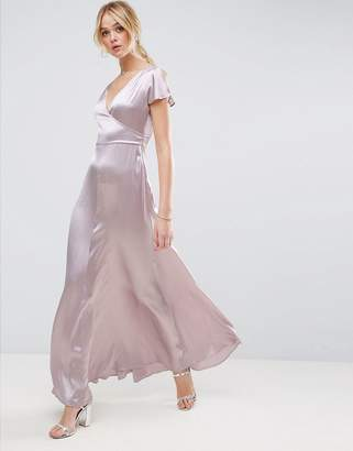 Asos Premium Wrap Satin Maxi Dress