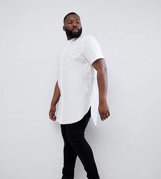 Asos DESIGN Plus regular fit super longline shirt in white with grandad Collar