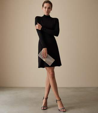 Reiss Our last order date for Christmas has now passed SANDIE DROP WAIST KNITTED DRESS Black
