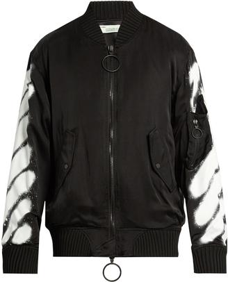 OFF-WHITE Spray-print bomber jacket $1,180 thestylecure.com