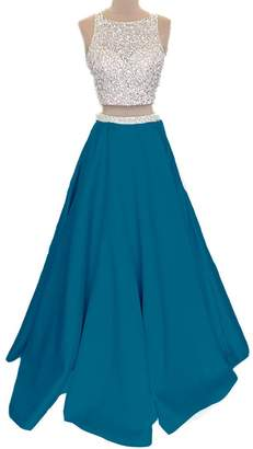 a58b22237bc APXPF Women s Two Piece Sequined Top Formal Prom Dress with Pockets US
