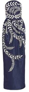 Oscar de la Renta Fern-Embroidered Strapless Silk Two-Pocket Gown