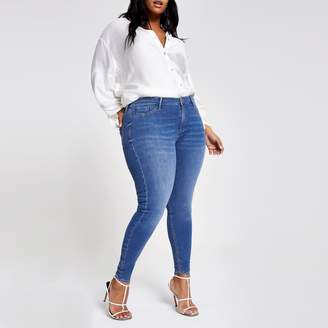 River Island Womens Plus mid Blue Molly mid rise jeggings