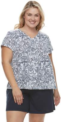 Croft & Barrow Plus Size Printed Tee & Shorts Pajama Set