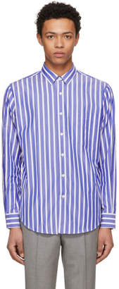 Ami Alexandre Mattiussi SSENSE Exclusive Blue and White Large Stripe Shirt