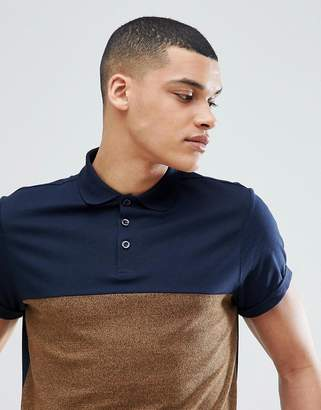 Asos DESIGN polo shirt with contrast yoke and roll sleeve in twisted jersey