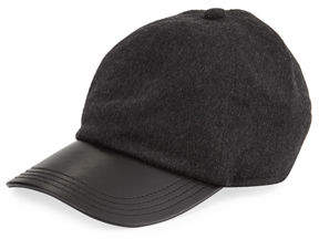 Neiman Marcus Cashmere and Leather Baseball Hat