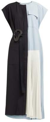 Tibi Edith Belted Pleated Crepe Midi Dress - Womens - Black Multi