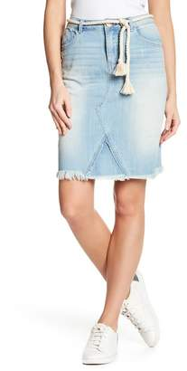 Democracy Distressed Frayed Hem Denim Skirt