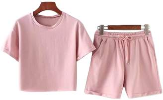 Goodnight Macaroon 'Sania' Cropped Top and Pink Shorts Two Piece Set (2 Colors)