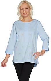 Martha Stewart Faux Pearl Embellished StretchPoplin Tunic