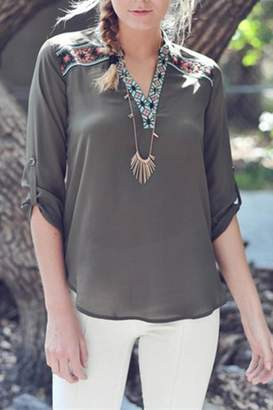 Double Zero Olive Stitch Top