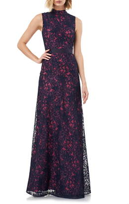 Kay Unger Floral Lace Mock Neck Fit & Flare Evening Gown