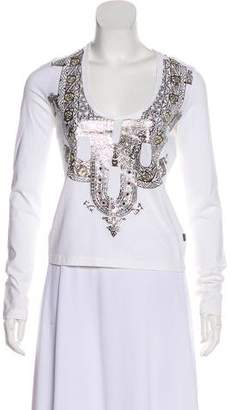 Just Cavalli Metallic-Accented Long Sleeve Top