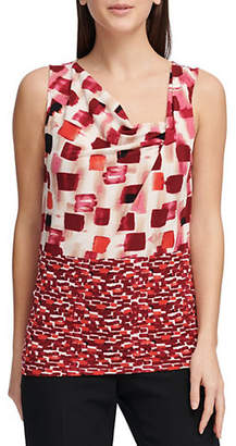 Donna Karan Sleeveless Printed Ruched Top