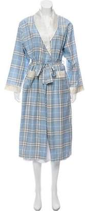 Burberry Silk-Trimmed Check Robe w/ Tags