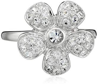 clear Sterling Silver Crystal Flower Ring