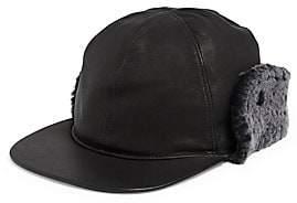 UGG Men's Shearling-Trim & Faux Fur-Lined Leather Baseball Hat
