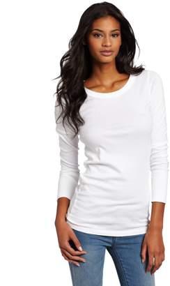 Michael Stars Women's Long Sleeve Raw Edge Band Crew Neck T-Shirt
