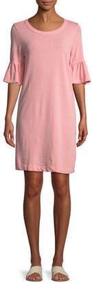 Splendid Slub-Knit Ruffle-Sleeve Tee Dress