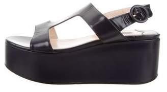 Prada Leather Flatform Sandals