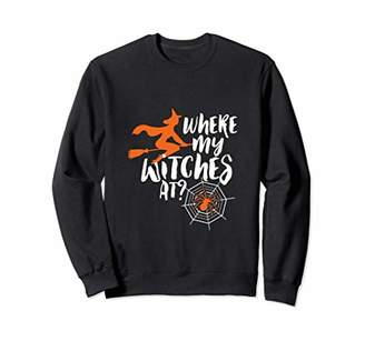 Funny Humorous Halloween Pun Sweater Where My Witches At
