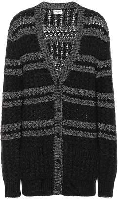 Saint Laurent Metallic-knit striped cardigan