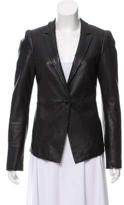 Elizabeth and James Leather Notch-Lapel Jacket