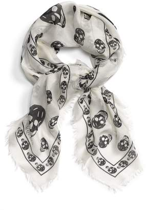 Alexander McQueen Skull Print Modal & Silk Scarf