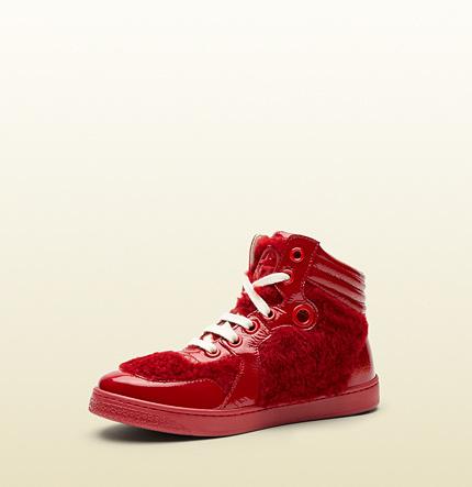 Gucci Kid's Shearling High Top Sneaker