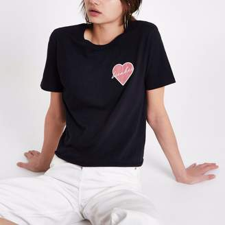 River Island Womens Black 'heartbreaker' patch T-shirt