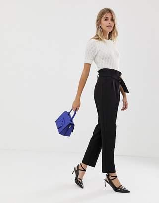 Miss Selfridge pants with paperbag waist in black