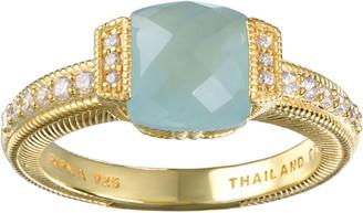 Judith Ripka 14K Clad Milky Aquamarine & Diamonique Ring