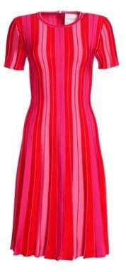 Carolina Herrera Pleated Stripe Dress