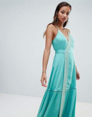 The Jetset Diaries embroidered wrap maxi dress