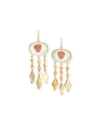 Ashley Pittman Horn & Bronze Dangle Earrings with Rose Quartz & Pink Sandstone