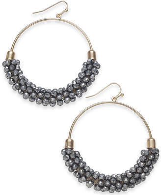 "INC International Concepts I.n.c. Large Gold-Tone & Hematite-Tone Bead Hoop Earrings, 2"""