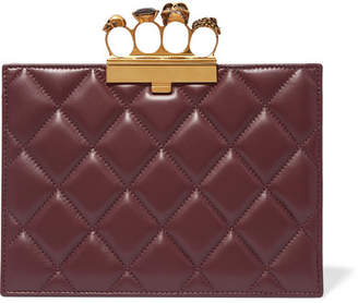 Alexander McQueen Knuckle Embellished Quilted Leather Clutch - Burgundy