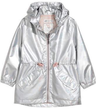 H&M Shimmery Metallic Parka - Gray