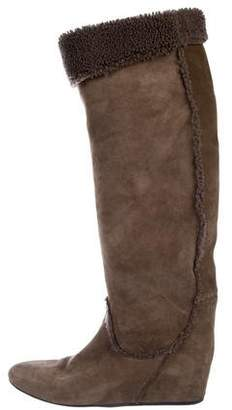 Lanvin Shearling-Trimmed Knee Boots
