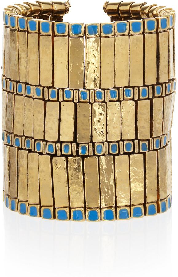 Aurelie Bidermann Mendoza 18-karat gold-plated enameled cuff
