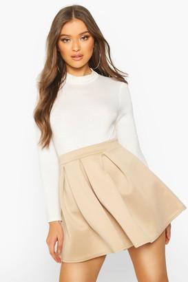 boohoo Basic Scuba Mini Skater Skirt